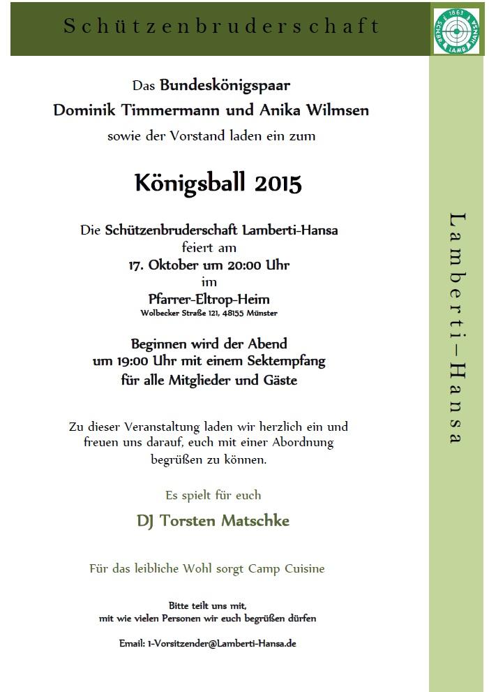 Einladung Königsball 2015