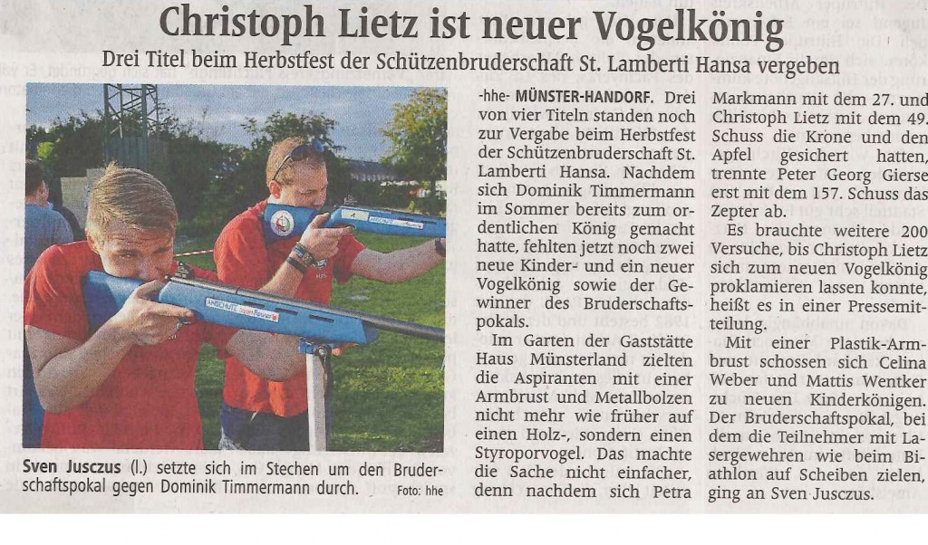 Westfälische Nachrichten vom 30.09.2015